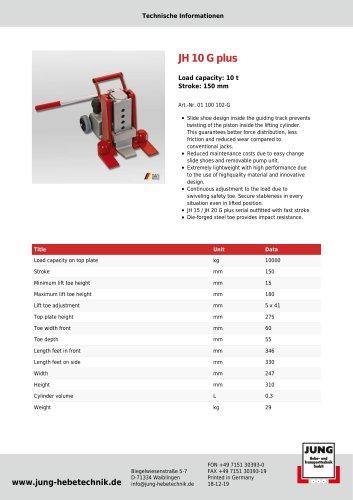 JH 10 G plus Product Details