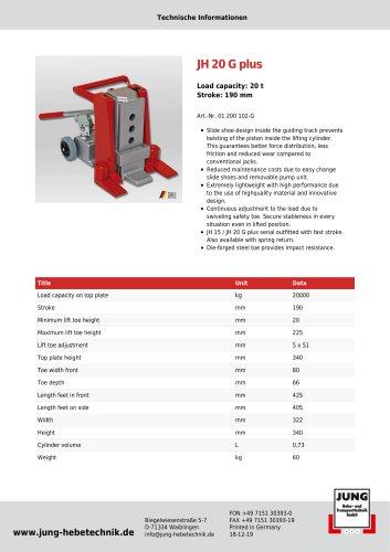 JH 20 G plus Product Details