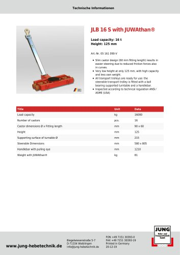 JLB 16 S Product Detail