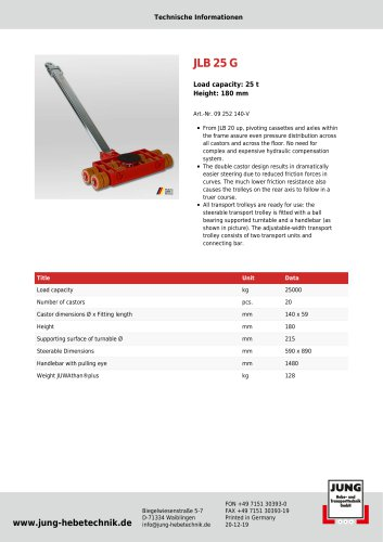 JLB 25 G Product Details