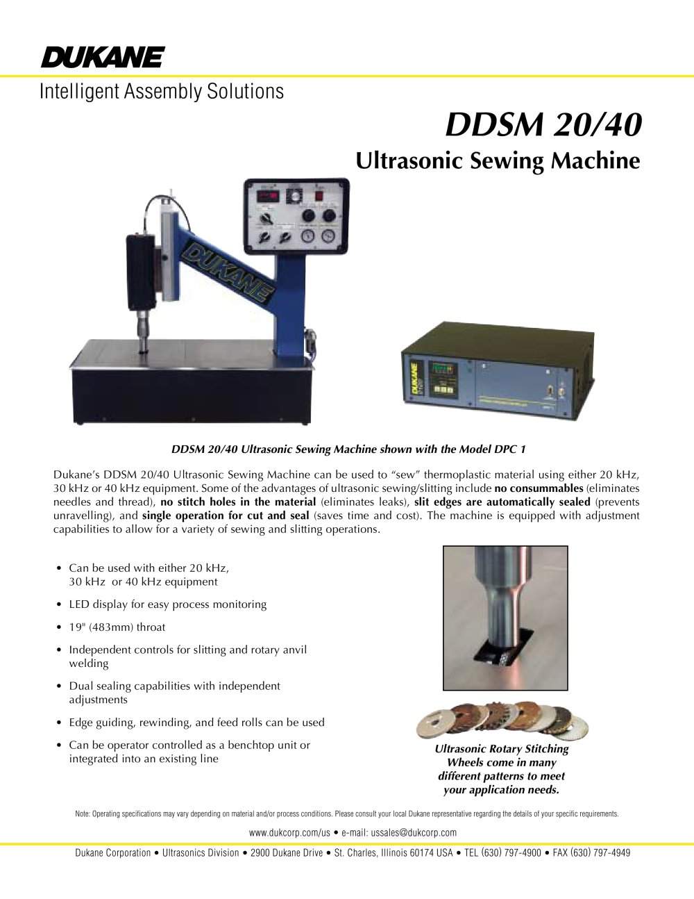 Ddsm 20 40 Ultrasonic Sewing Machine Dukane Intelligent Assembly Welding Diagram 1 2 Pages