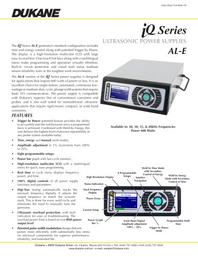 iQ Series AL-E Ultrasonic Power Supply