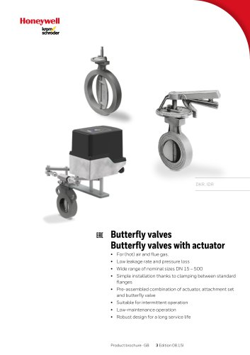 Butterfly valves with actuator