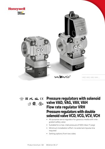 Pressure regulators with solenoid valve VAD, VAG, VAV, VAH