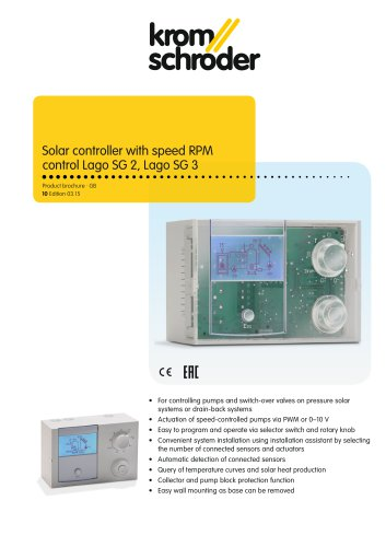 Solar controller with speed RPM control Lago SG 2, Lago SG 3