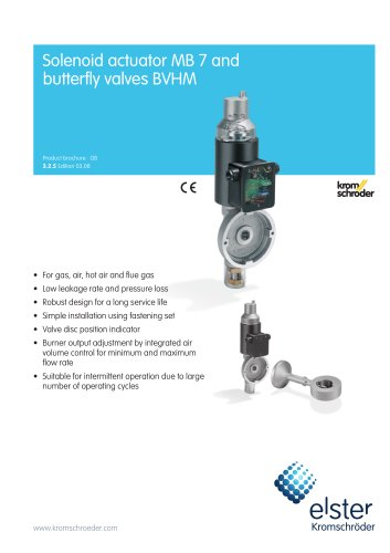 Solenoid-operated butterfly valves for air MB/BVHM