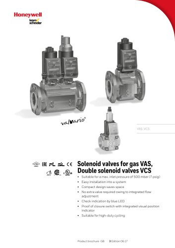 Solenoid valves for gas VAS, VCS