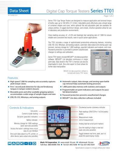 Digital Cap Torque Testers Series TT01