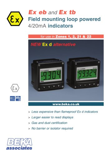 Ex eb and Ex tb Field mounting loop powered 4/20mA indicators