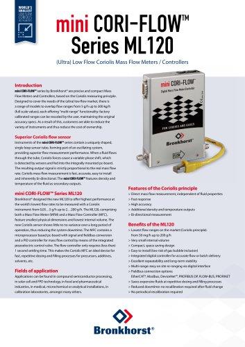 mini CORI-FLOW ML120 Coriols Mass Flow Meters/Controllers for (ultra) low flow ranges