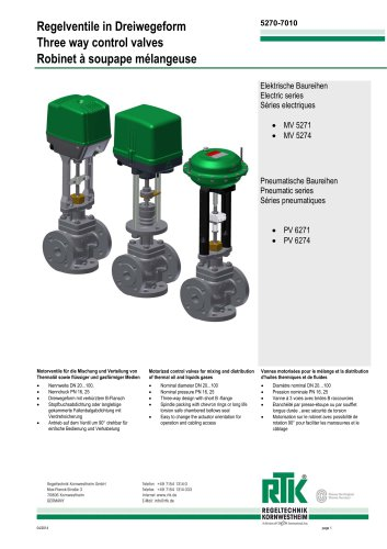Control valve in three-way design with electric or pneumatic actuator 5270-7010