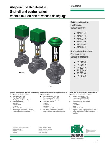 Control valve in two-way or three-way design with electric or pneumatic actuator 5200-7010K