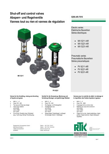 Control valve in two-way or three-way design with electric or pneumatic actuator 5200-AR-7010