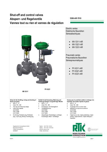 Control valve in two-way or three-way design with electric or pneumatic actuator 5300-AR-7010