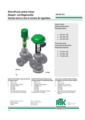 Control valve in two-way or three-way design with electric or pneumatic actuator 5400-AR-7010
