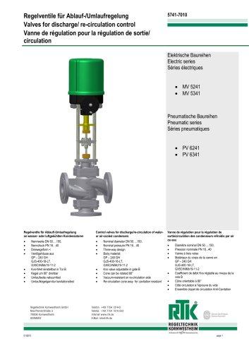 Control valves for regulating flow/circulation MV 5241/ MV 5341 PV 6241/ PV 6341