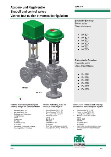 Electric and pneumatic control valves (heat control) MV 5200