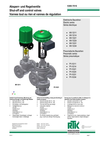 Electric and pneumatic control valves (heat control) MV 5300/ PV 6300