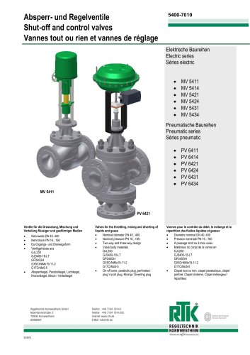 Electric and pneumatic control valves (heat control) MV 5400/ PV 6400