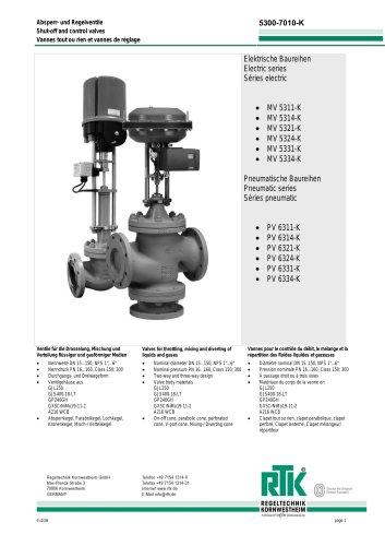 Electric and pneumatic control valves (refrigeration control) MV 5200K PV 6200K