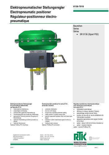 Electric-pneumatic positioner SR 6136