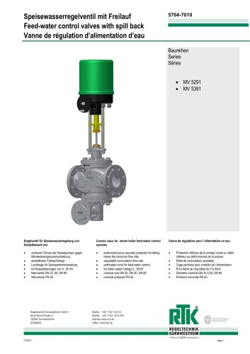 Feed-water control valves with spill back MV 5291/ MV 5391