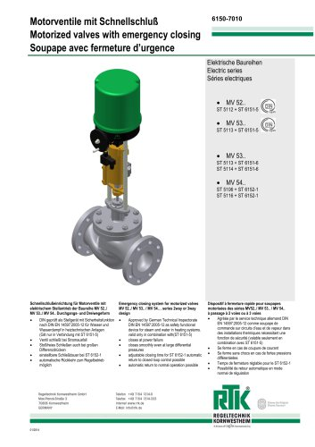 Motorized valve with emergency closing 6150-7010