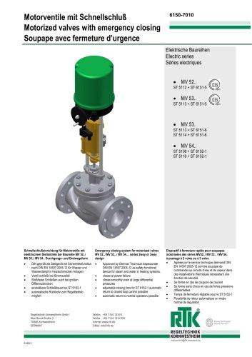 Motorized valve with emergency closing ST 6150/ ST 6151/ ST 6152