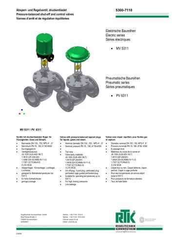 Pressure-balanced Shut-off and control valves MV 5311 / PV 6311
