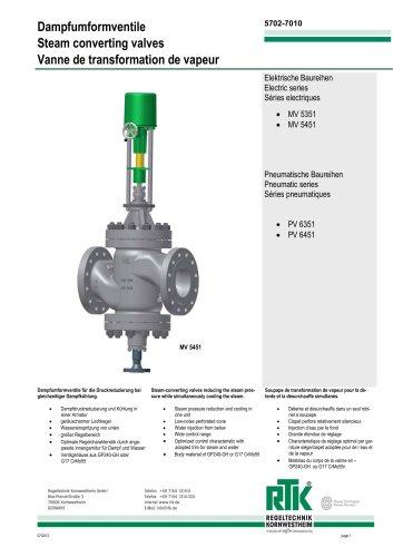 Steam-converting valves MV 5051/ PV 6051