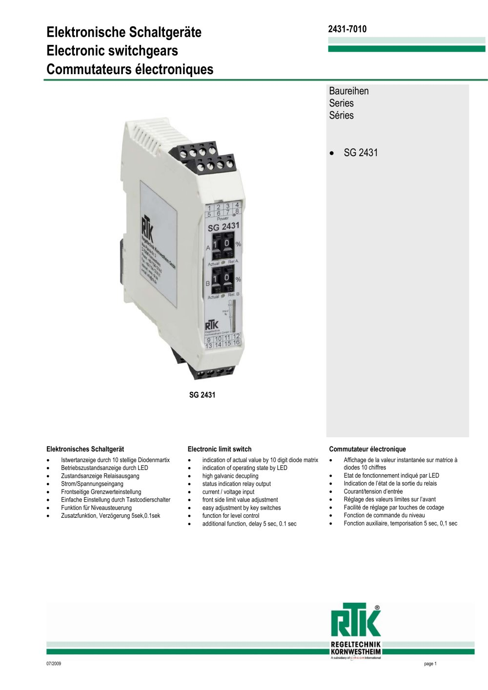 Switch Gears Sg 2411 Rtk Regeltechnik Kornwestheim Pdf Catalogs Electronic Relay Operation 1 3 Pages