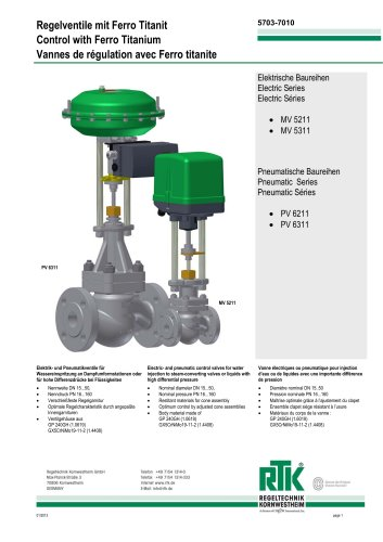 Water injection valve for steam converting MV 5211