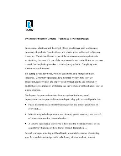Dry Blender Selection Criteria – Vertical & Horizontal Designs