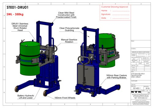 Universal Drum Rotator (Electric) - Technical Specification