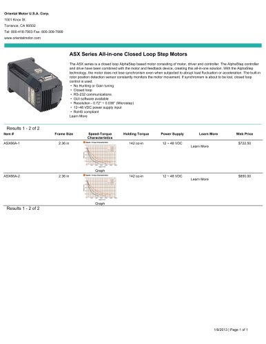 ASX Series All-in-one Closed Loop Step Motors