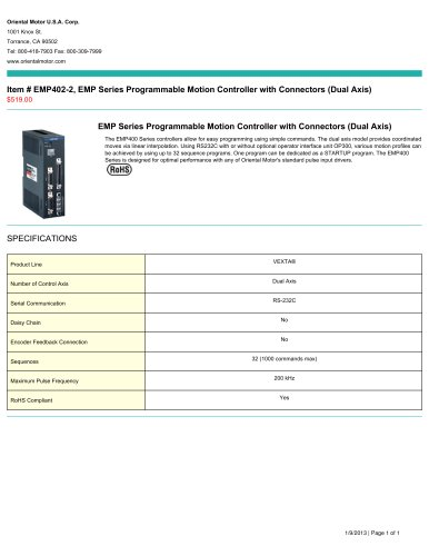 EMP402-2, EMP Series Programmable Motion Controller with Connectors (Dual Axis)
