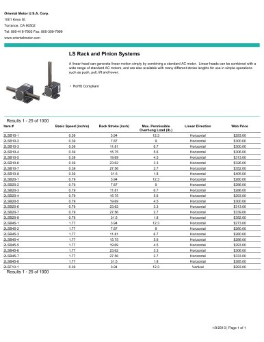 LS Rack and Pinion Systems