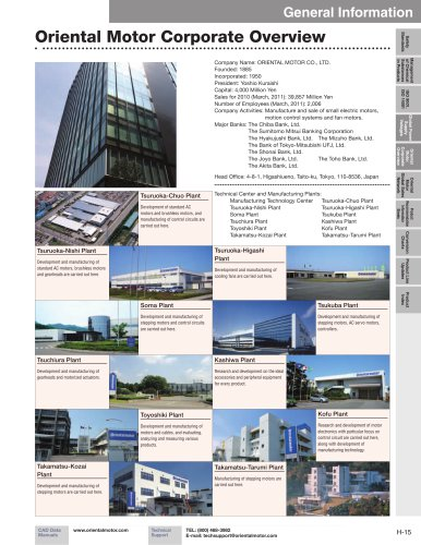 Oriental Motor Corporate Overview