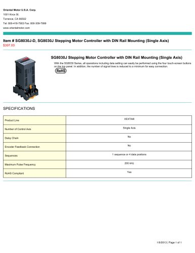 SCX10, SCX10 Universal Stepping Motor Controller (Single Axis) $397.00
