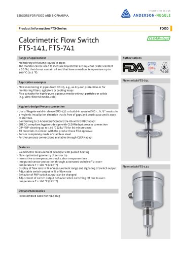 FTS-741P Calorimetric Flow Switch Pharma Flow Sensors
