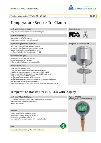 TFP-47, -57, -67, -167 Temperature Sensor Tri-Clamp