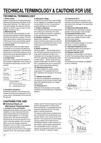 Snap action switch technical information