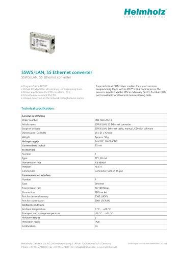 SSW5/LAN, S5 Ethernet converter