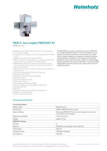 TB20-C, bus coupler PROFINET IO