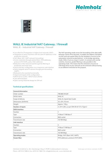 WALL IE Industrial NAT Gateway / Firewall
