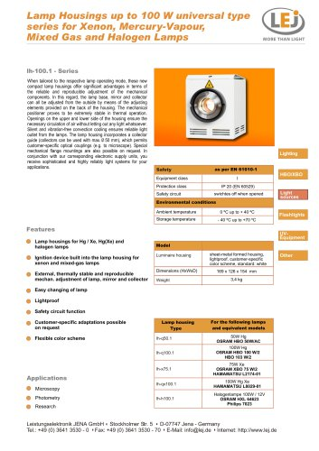 Lamp Housings up to 100 W universal type series for Xenon