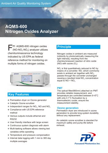 FPI AQMS-600 NOx, NO, NO2, nitrogen dioxide analyzer Ambient air quality monitoring system