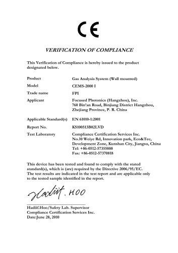 FPI CE Certificate CEMS-2000 I-LVD