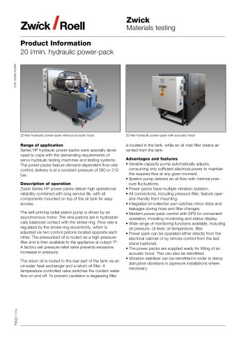 20 l/min  hydraulic power-pack - ZwickRoell GmbH & Co  KG