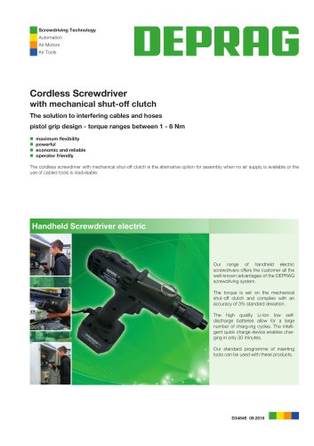 Cordless Screwdriver with mechanical shut-off clutch